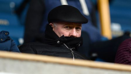 The new Ipswich manager Paul Lambert staying covered up and keeping a low profile in the main stand