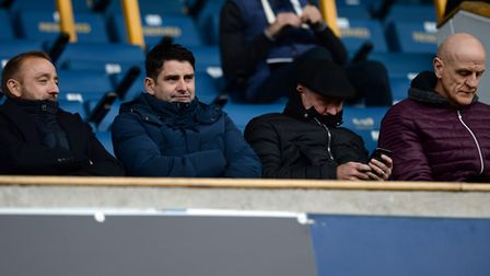 The new Ipswich management team keeping a low profile in the main stand at The Den. Picture: PAGEPIX