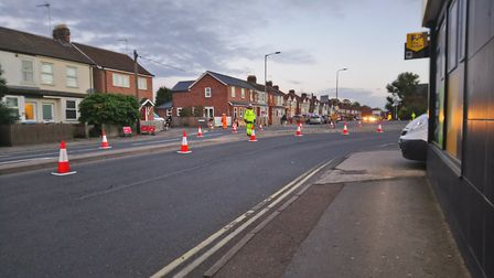 Traffic flow in Wherstead Road was curtailed as preparations were put in place for tomorrow's moving