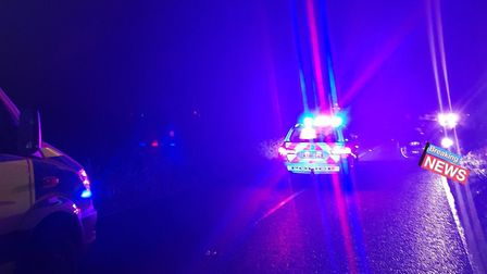 Police are still at the scene of the collision Picture: SUFFOLK CONSTABULARY