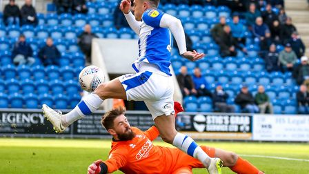 Sammie Szmodics has this effort saved by Lincoln keeper Josh Vickers, early in the second half of Sa