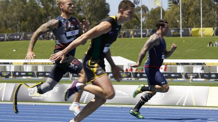 Alex Tate (left) in the 100m final Picture: THEO COHEN
