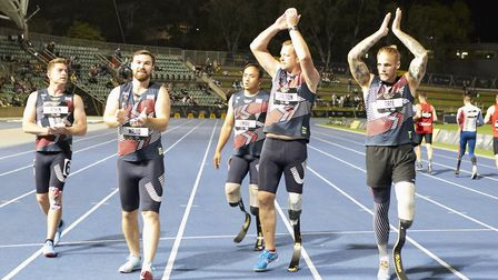 Alex Tate, (far right) from Bury St Edmunds, at the Invictus Games Picture: THEO COHEN