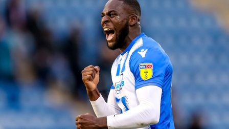 Frank Nouble celebrates after Colchester United's 1-0 victory over Lincoln City. Picture: STEVE WAL