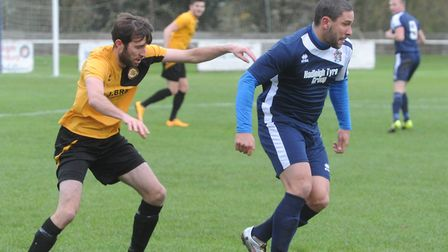 Danny Thrower scored for Hadleigh in their home defeat by Gorleston. Picture: ARCHANT