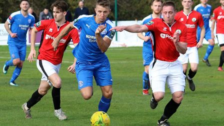 Jake Reed was on target for Leiston in their FA Trophy win. Picture: JOHN HEALD