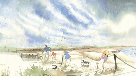 Some of the drawings to complement Michael Rosens words were inspired by the coast around Felixstow
