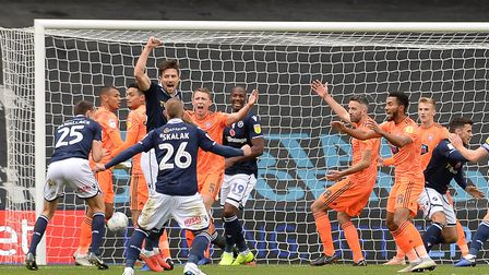Millwall celebrate their first half goal against Ipswich at The Den. Photo: Pagepix