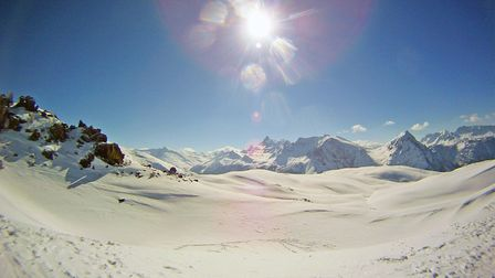 The views over Claviere on a sunny ski day Hotel Picture: CRYSTAL