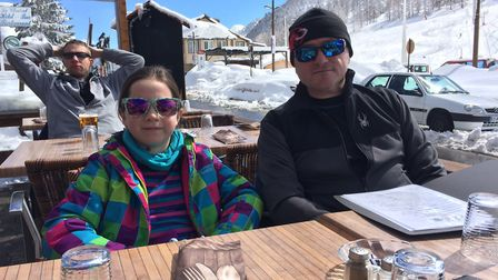 Natalie Sadler's family stopped for lunch in a French restaurant after skiing to Montgenevre Picture