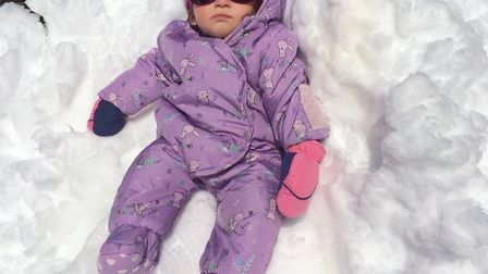 Violet Sadler spent lots of time in the snow with the nursery team in Claviere Picture: NATALIE SADL