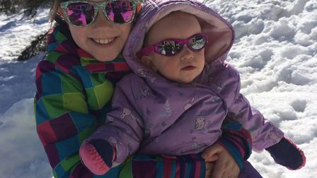 The deep snow was perfect for snow play together Picture: NATALIE SADLER
