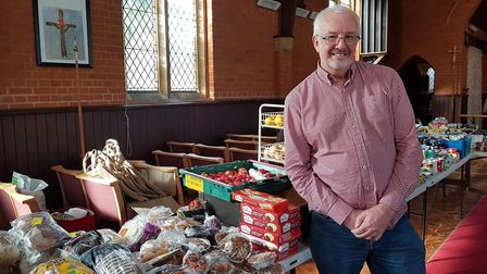 Mr Denny with all the food available at one of his Felixstowe pop-up shops this week. Picture: RACHE