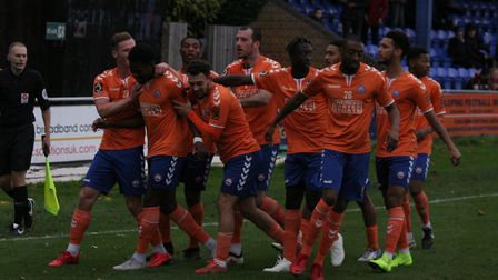 Braintree celebrate a goal in their win over Dover Athletic. Picture: BRAINTREE TOWN