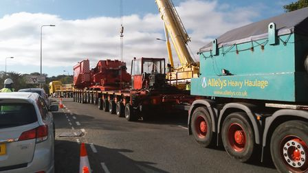 Wherstead Road is currently closed as preparations are made for an abnormal load Picture: SUFFOLK HI