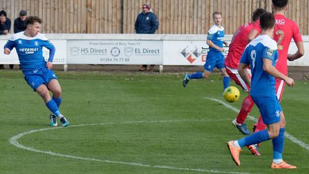 Jake Chambers-Shaw opens the scoring for Bury against Tilbury, in Saturday's 3-0 home win. Picture:
