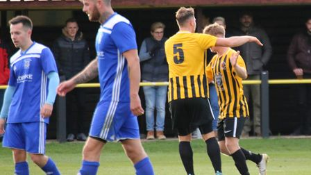 Stow celebrate Robbie Sweeney's goal in their 2-1 defeat to Godmanchester. Picture: DAVE MATTHEWS