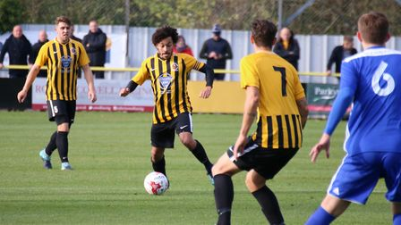 Stowmarket's Ollie Brown on the ball. Picture: DAVE MATTHEWS