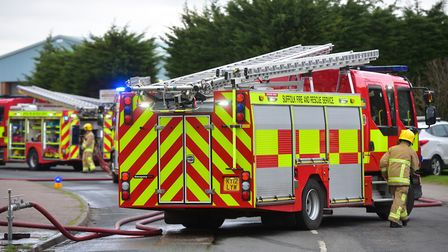 Fire tackled close to County Upper School, Bury St Edmunds Picture: NICK BUTCHER