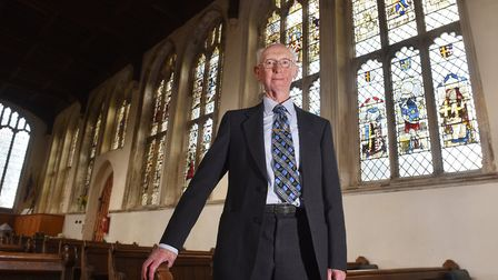 David Hamand is an expert on the stained glass inside Holy Trinity Church, Long Melford Picture: NI