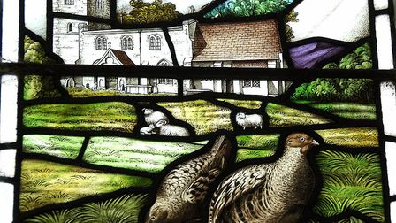 The stained glass created in memory of Hugh Weller-Poley at Holy Trinity Church in Boxted Picture: E