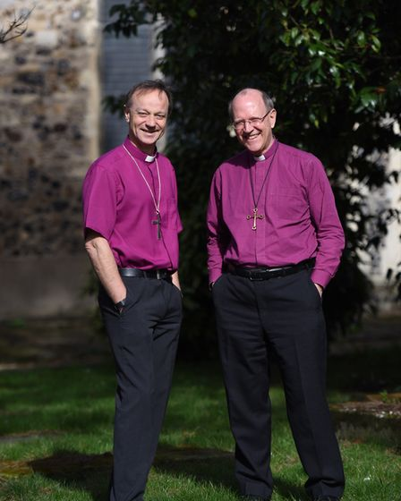 Bishop Mike and Bishop Martin have both praised Suffolk's stained glass Picture: GREGG BROWN