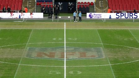 NFL markings still visible on the pitch before the Premier League match between Tottenham Hotspur an