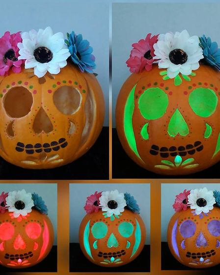 Day of the dead pumpkins by Leanne's children. Picture: LEANNE DIVERS FRANKLIN