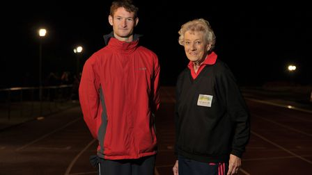 Acting Captain of the Orwell Panthers at away events, Oliver Minns with Community Hero Ann Brown Pic