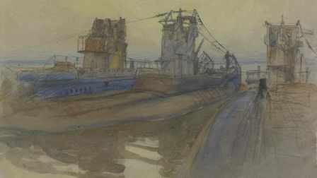 Three abandoned U-boats moored off Harwich. The view is angled from the deck of one of the U-boats i