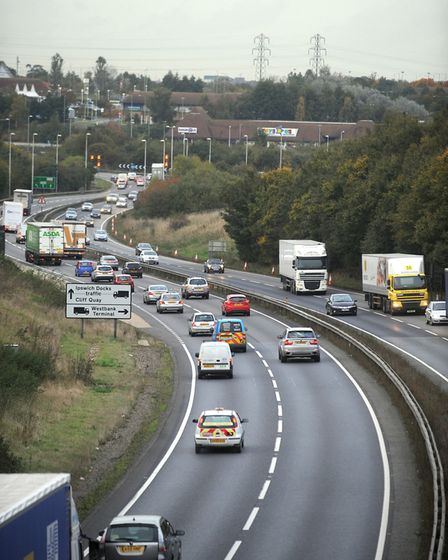 The A12 at the Copdock interchange is the busiest junction in Suffolk Picture: PHIL MORLEY