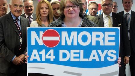 Therese Coffey MP and other attendees at the first meeting of the No More A14 Delays in Suffolk stra
