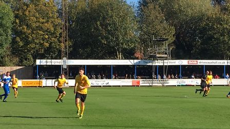 The tranquil setting of Bury Town's Ram Meadow, as Mildenhall Town (yellow shirts) take on hosts Bur