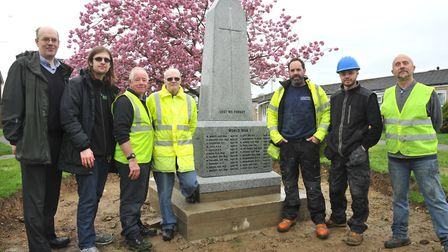 The installation of the new war memorial at Capel St Mary Picture: LUCY TAYLOR PHOTOGRAPHY
