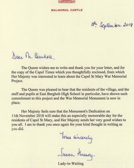 The full letter sent by Her Majesty the Queen Picture: DAVID THOMPSON