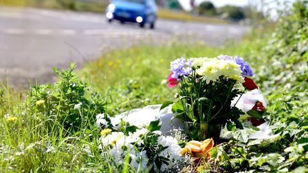 Floral tributes left at the scene of the fatal crash on the A47 near Blundeston. Picture: Nick Butch