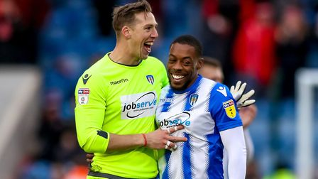 Rene Gilmartin, left, and Ryan Jackson celebrate after the final whistle following last Saturday's 1