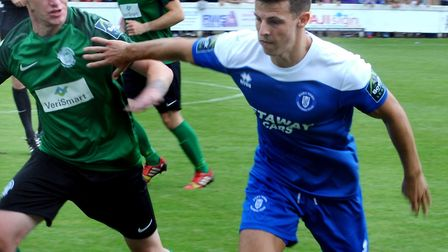 Ryan Jolland, an injury concern ahead of Bury Town's home match against Aveley. Picture: ANDY ABBOTT