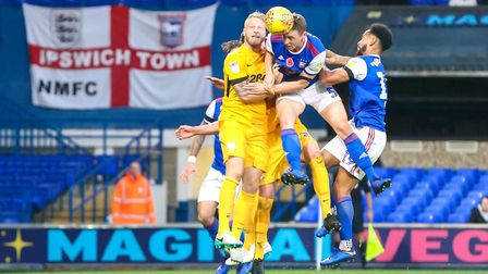Matthew Pennington connects with the ball but his second half effort was off target. Picture: STE