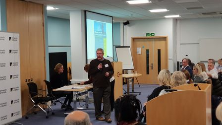 Professor Nigel South, from the University of Essex, speaks at the domestic abuse conference in Ipsw