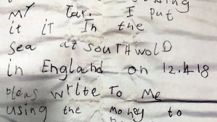 The hand-written letter Henry put into a jar at Southwold. Picture: JAMES COX