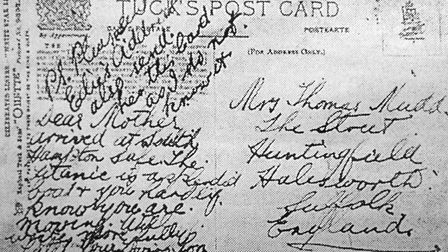 A postcard sent home to Halesworth by Thomas Mudd from the Titanic in 1912. Thomas persished in the