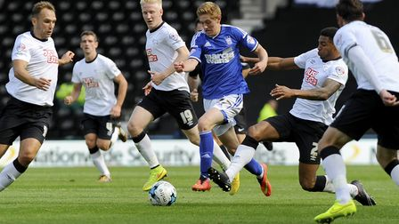 Teddy Bishop runs at the Derby defence in 2014. The then teenager played a key role as Mick McCarthy