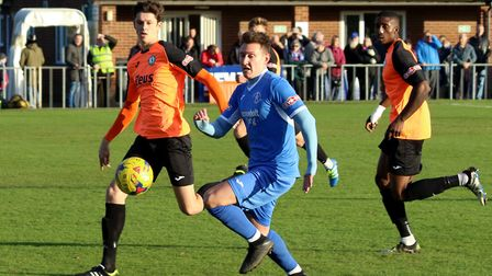 Christy Finich on the run for Leiston. Picture: JOHN HEALD