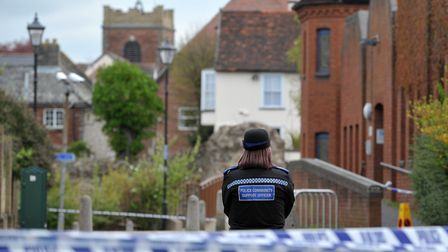 Police cordon off St Mary's car park in Colchester after the body of Martin Dines was found Picture