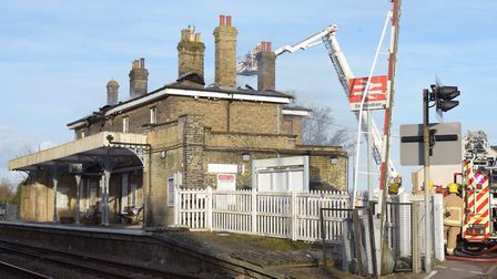 Firefighters tackling a blaze at Saxmundham railway station earlier this year Picture: SARAH LUCY BR