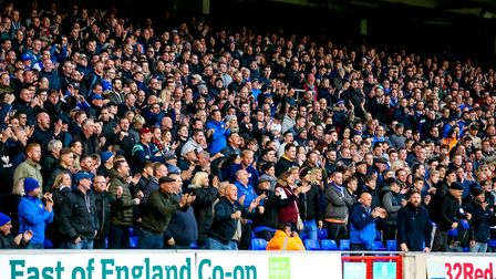 Town fans creared a great atmosphere at Portman Road on Saturday. Picture: STEVE WALLER