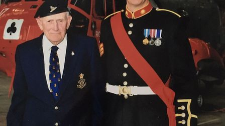 Eric Cook pictured with his grandson Warrant Officer Second Class Julian Cook at the Royal Naval Air