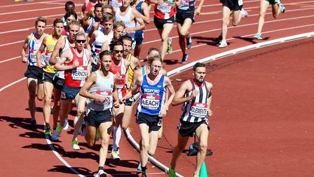 Kieran Clements leads the way on the track. The Suffolk athlete will be running for England on the c