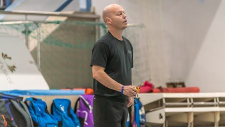 Dave Champion getting his point across at training at Crown Pools. Picture: PAVEL KRICKA